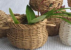 籾山由美の東京-島根 小さな暮らし散歩で花草摘み。東京にて手の中に収まる紙ひも篭に活ける。