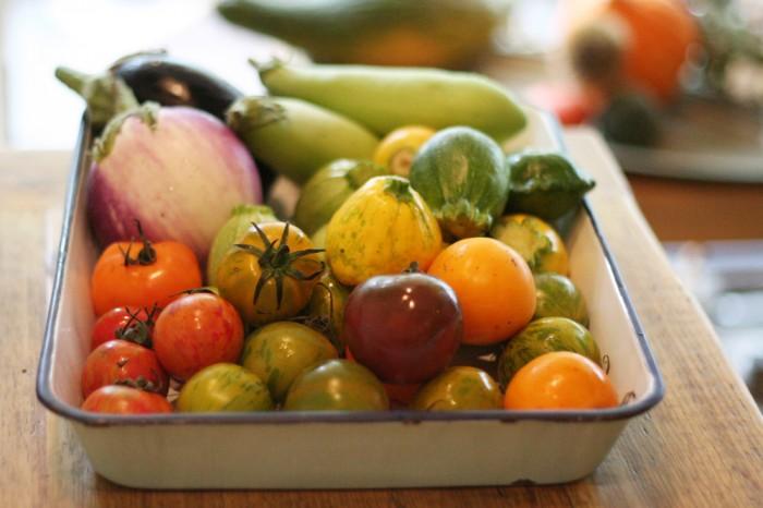 種類も色もさまざまなトマトがランダムに