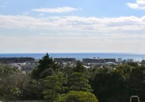 由比ケ浜の波音が聞こえてきそうな鎌倉文学館のベランダ。