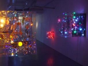 鰻の寝床のような縦長の画廊。光のボックスに奥へ奥へと吸い寄せられていきます。
