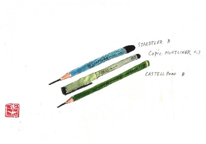 ステッドラーとファーバーカステルの鉛筆、コピックペン。ステッドラーの方は正式名称は、ステッドラーマルス ルモグラフ製図用高級鉛筆 8B~6Hまで。ファーバーカステルはファーバーカステル9000番鉛筆 8B~6Hまで。©Takayoshi Tsuchiya