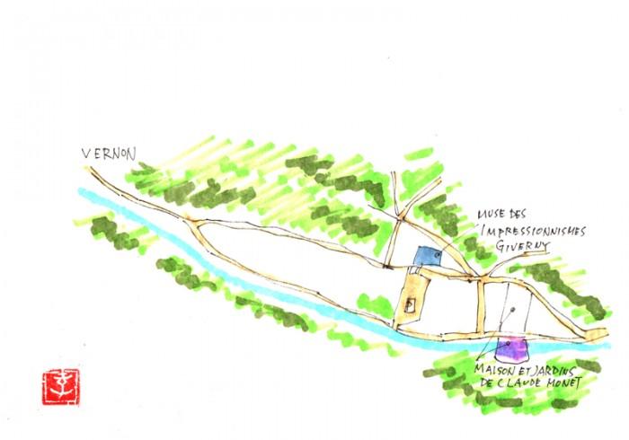 ジヴェルニー村の略図です、歩いて30分くらいで回れます。モネさんの家と庭、ジヴェルニー印象派美術館があります。