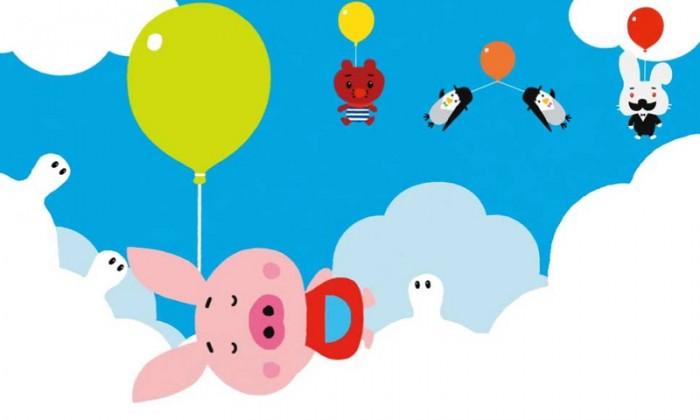 ふうせんブタのピギーはとてもくいしいぼうで、空の雲をばくばく食べてしまいます。