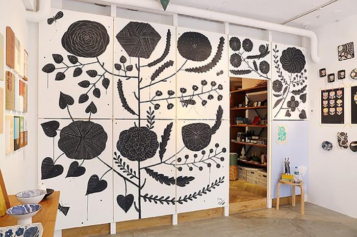 鹿児島睦の図案展 2013.10 壁画(doinel)