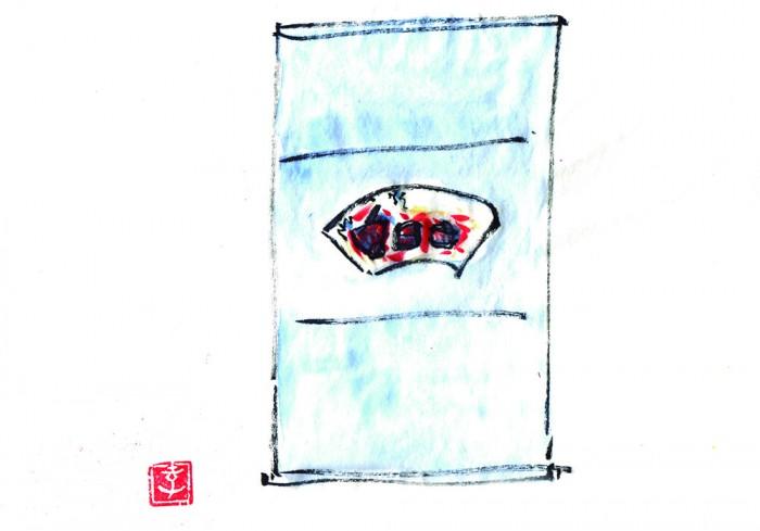 この日の軸。棟方志功作原画扇面を軸に仕立てたもの。お道具は民芸運動の作家のものかと思いを巡らせます。 © Takayoshi Tsuchiya