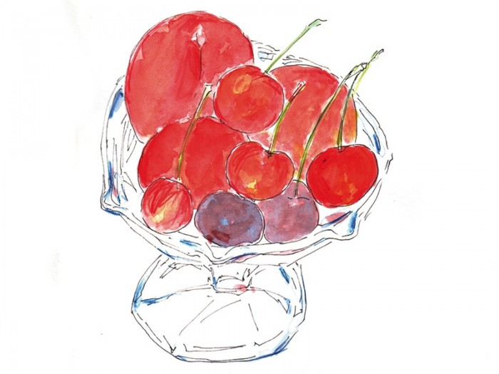 佐藤錦とアメリカンチェリー。さくらんぼと赤いフルーツ 水彩で赤いフルーツを描いたものです。© Takayoshi Tsuchiya