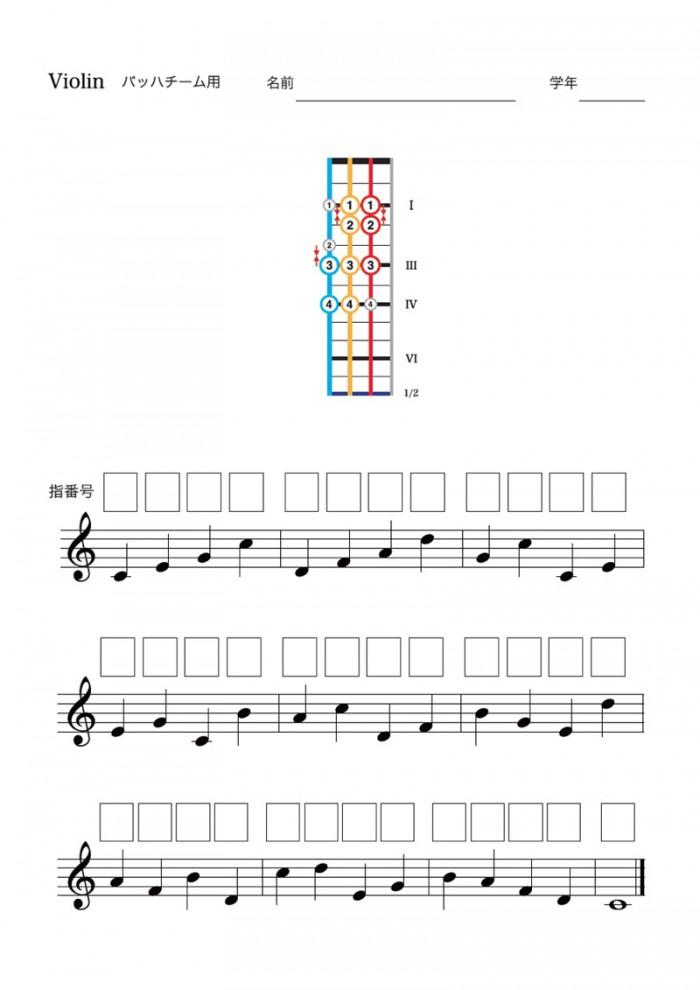 運指と階名を連動させたドリル。「もんだいしゅう」と呼ばれている。この音を弾くときどの指をつかっているかな? 学習では、体験を名付け、記憶だけにとどめずに紙の上に固定する作業はたいせつだ。楽譜にもどんどん指番号を書き込もう。