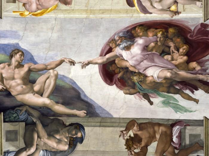 ミケランジェロ『アダムの創造』、ラファエロ『アテネの学堂』など名画の世界を3Dで再現。『ヴァチカン美術館4K3D 天国への入口』© direzione dei musei - governatorato s.c.v