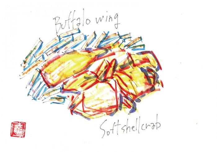 ロングアイランド郊外でバッファローウィング、脱皮したてのソフトシェルクラブの唐揚げ、か? © Takayoshi Tsuchiya