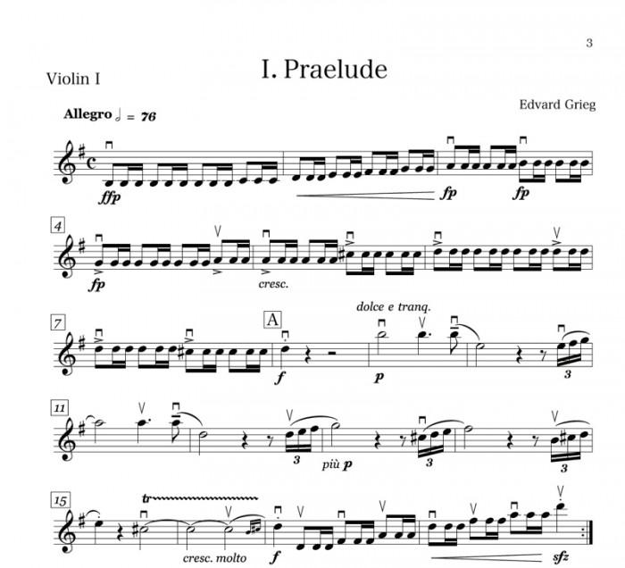 グリーグ『ホルベルク組曲』の原曲冒頭。細かく弓を動かす「リズム型」、素早く指を動かす「三連符」、繰り返し指を押さえたり離したりする「トリル奏法」が見られる。これらはB譜にはないワザ。