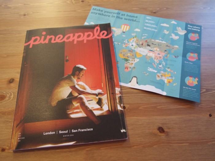 『Airbnb』が発行しているガイドブック『Ppinapple(パイナップル)』と、Wlcomeフライヤー。いずれもスマートだが親しみやすいデザイン。