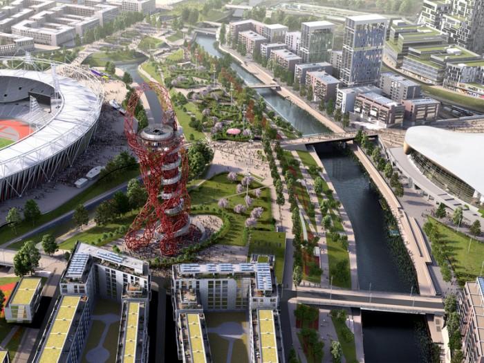 2030年の『クイーン・エリザベス・オリンピック・パーク』。左からオリンピックスタジアム、アルセロール・ミッタル・オービット、アクアティクス・センターなど。各会場の市民が利用できる施設になり、選手村は住宅に。visitbritain.com
