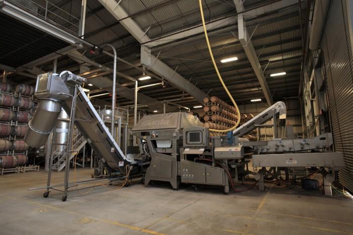 ぶどうの選果機。レーザーを用い、1時間当たり10トンの処理能力がある。愛称はマンタ