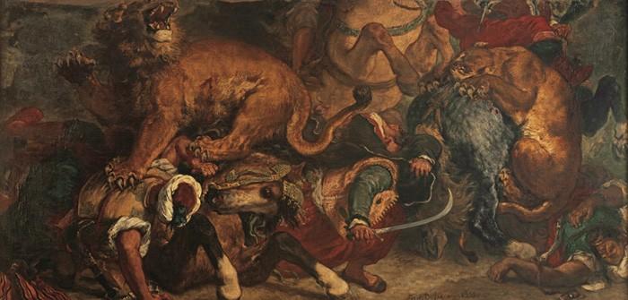 ウジェーヌ・ドラクロワ『ライオン狩り』1854-55年 ボルドー美術館 ©Musée des Beaux-Arts - Mairie de Bordeaux. Cliché L. Gauthier