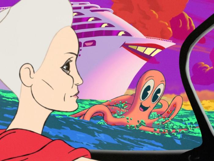 """『ベティ・ブーブ』『ポパイ』の作者であるフライシャー兄弟へのオマージュを感じさせるアニメキャラが、随所に""""レトロ可愛く""""登場する。"""