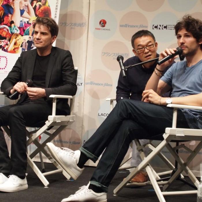 『フランス映画祭2015』で上映後のトークに、共同脚本で主人公ポールのモデル スヴェン・ハンセン=ラブとともに登壇。23歳のフェリックスと42歳のスヴェンは、ともに日本でEDWINのジーンズを購入したそう。