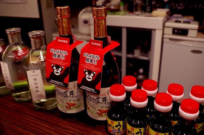 協賛された熊本の特産物。阿蘇の清らかな水で作られた限定焼酎をお供に、牡蠣がおいしくすすむ。