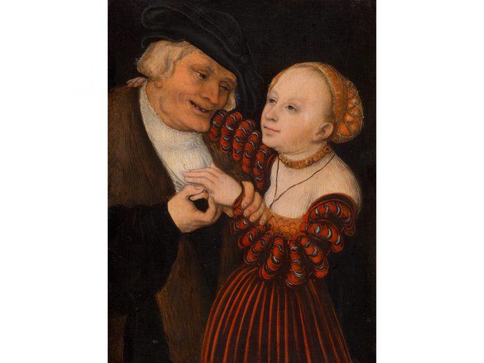 『不釣合いなカップル』1530〜40年頃、油彩 / 板(ブナ)、19.5cm×14.5cm、ウィーン美術史美術館 © KHM-Museumsverband.