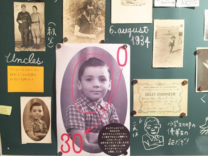写真、手紙、ドキュメントで50年の歴史を辿っていきます。ポストイットにはその資料のコメント&説明書きが。翻訳は堀内花子さんによるもの。前半はピエールさんの半生をファミリーアルバムさながらに紹介。1957年にフランス著作権協会に登録する際の試験問題の詩など貴重なものも。