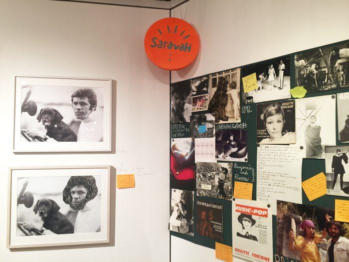 『サラヴァレコード』の名作の数々を紹介する一角。ピエールさんの写真は『男と女』ビフォアとアフター。