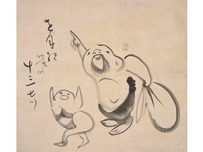 『指月布袋画賛』仙厓筆、江戸時代、出光美術館蔵