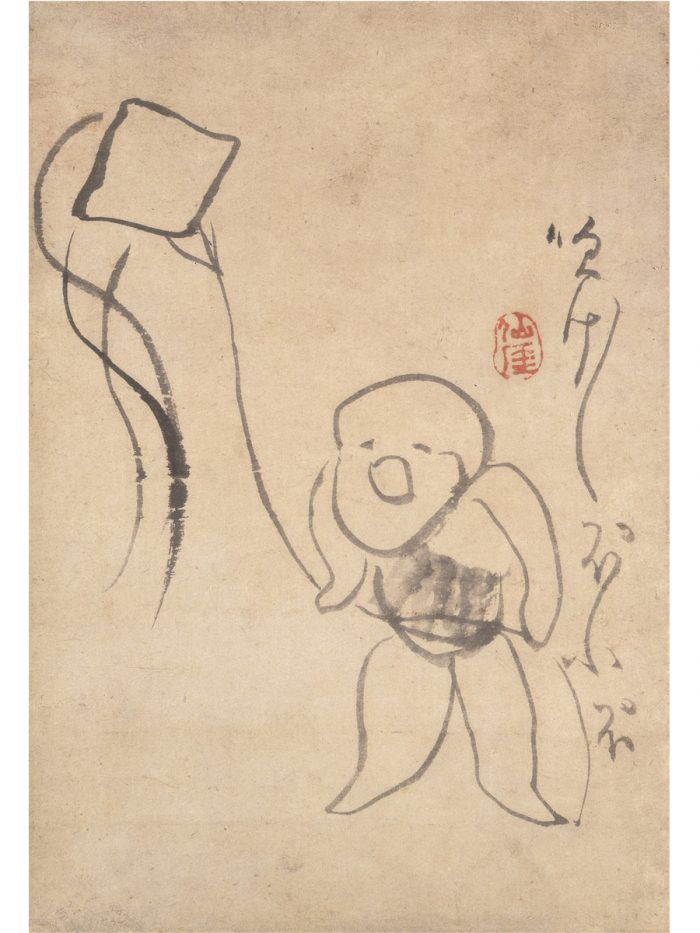 『凧あげ図』仙厓筆、江戸時代、福岡市美術館蔵(石村コレクション)