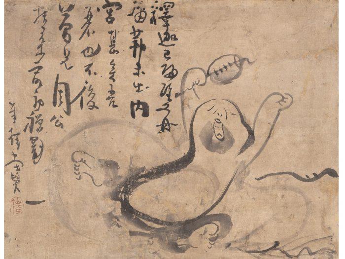 『あくび布袋図』仙厓筆、江戸時代、福岡市美術館蔵(石村コレクション)
