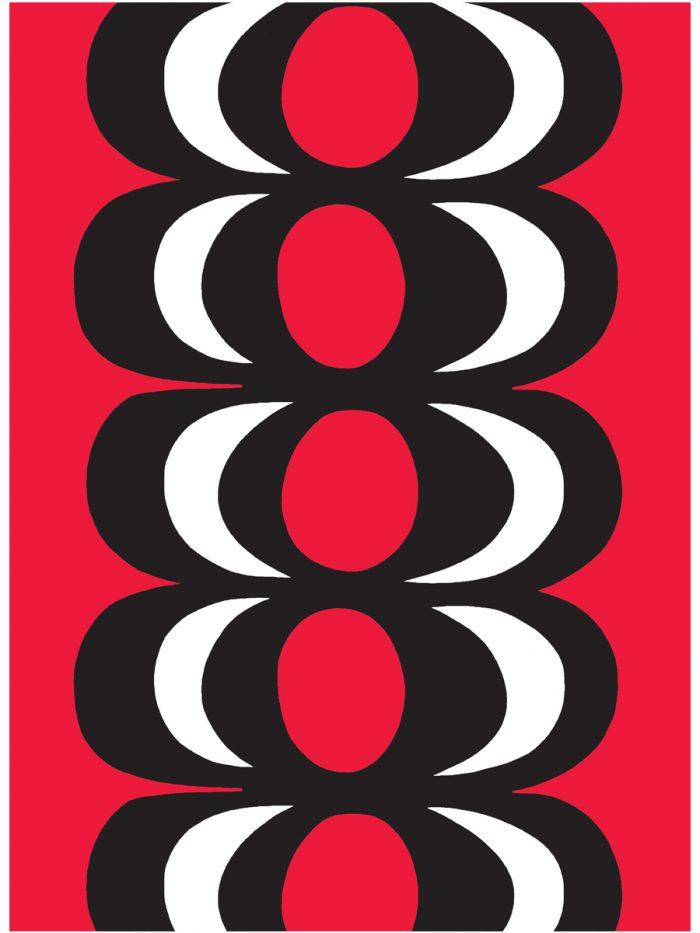 ファブリック『カイヴォ』(泉)、図案デザイン:マイヤ・イソラ、1964年 Kaivo pattern designed for Marimekko by Maija Isola in 1964